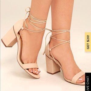 Lulus nude lace up block heels